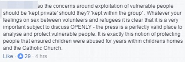 Another criticised volunteers who did not want to address the exploitation issue publicly