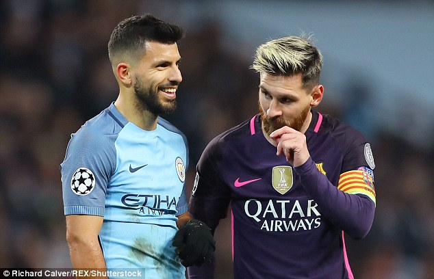 Sergio Aguero of Manchester City and Barcelona's Lionel Messi in action on Tuesday