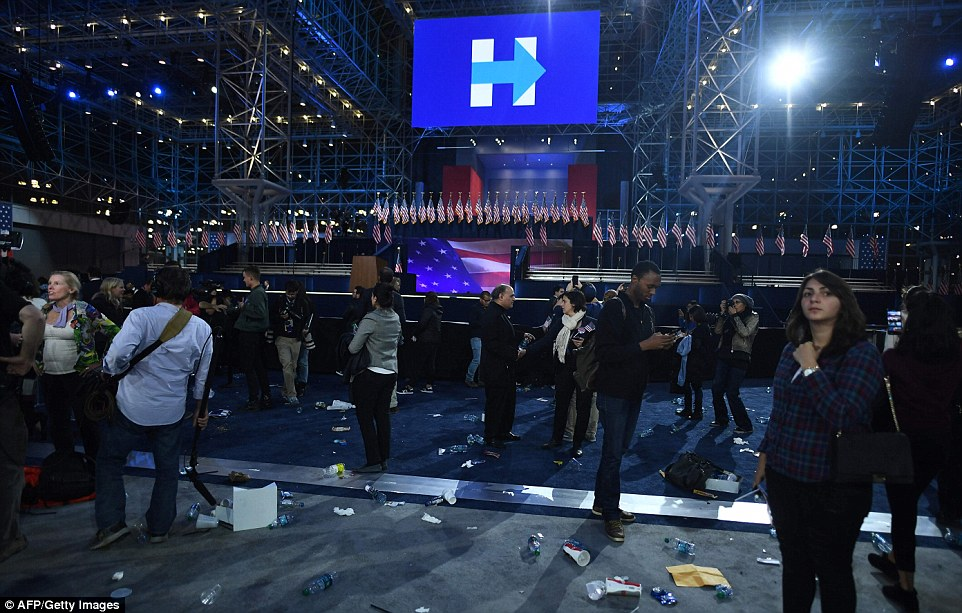 Time's up: Clinton campaign chair John Podesta told the crowds to leave the Javits Center at around 2:15am Wednesday. The Clinton campaign seemed to want to keep fighting, but their followers were clearly crushed by the loss of the election