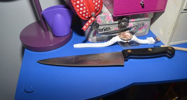This gruesome knife - taken by Markham from his family's kitchen - was used to stab the mother and daughter in their beds
