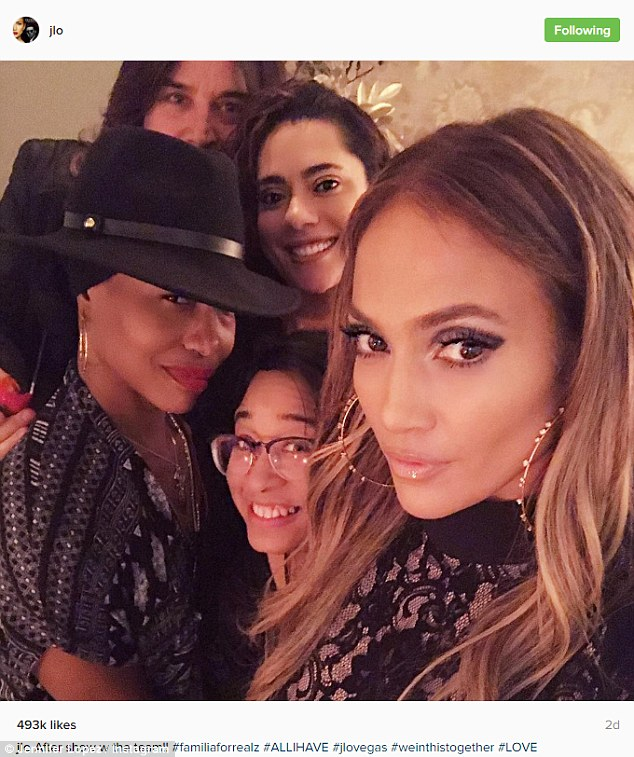Her dancers: The 47-year-old beauty also posed with her team