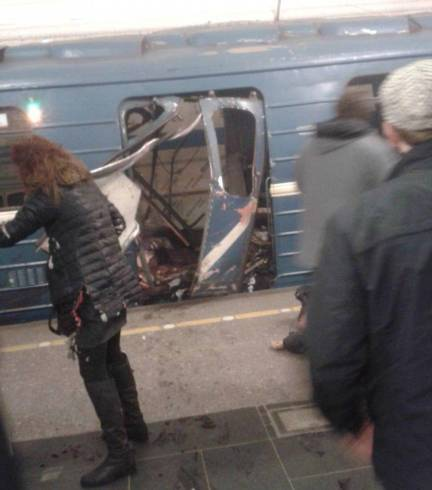 An explosion on the metro in St Petersburg has ripped through a train carriage causing carnage as the door is completely blown out