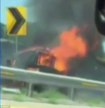 At the time, Torres was riding unrestrained in the cargo area of the van. He was pronounced dead at the fiery scene (pictured). Another passenger, Jesus I. Gonzalez, 16, was treated at the hospital and released the day of the crash