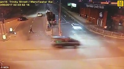 Drink driver races through a red light in Bolton | Daily Mail Online