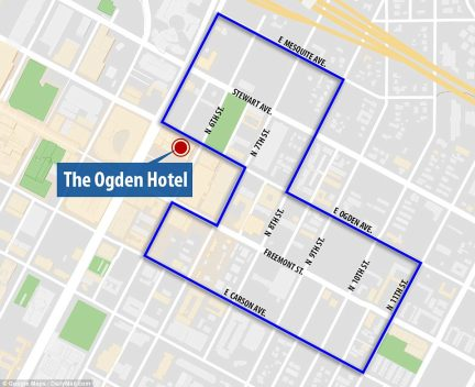 Police sources say he attempted to rent specific condos at the Ogden and another unnamed hotel overlooking the festival (which occupied the blocks within the blue lines)