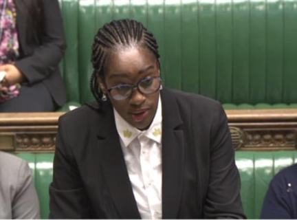 Shadow Aid Secretary Kate Osamor (pictured in the Commons today) said Ms Patel should either be sent for a formal investigation or 'do the decent thing and resign'