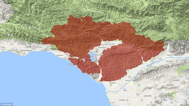 The Thomas Fire, now the third largest in California history, has now burned more than 400 square miles (Saturday map)