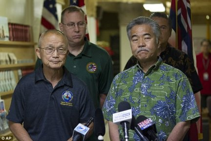 EMA Administrator Vern Miyagi (left) andHawaii Governor David Ige (right) apologized for the error at a press conference Saturday afternoon