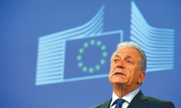BRUSSELS: EU Commissioner for Migration, Home Affairs and Citizenship Dimitris Avramopoulos addresses the media at the EU Commission headquarters on Wednesday.—AP