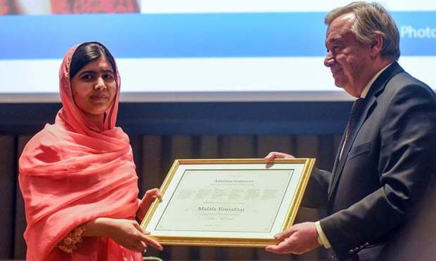 Malala Yousafzai attends a ceremony with United Nations Secretary General Antonio Guterres after being selected a United Nations messenger of peace in New York, NY, April 10.— Reuters