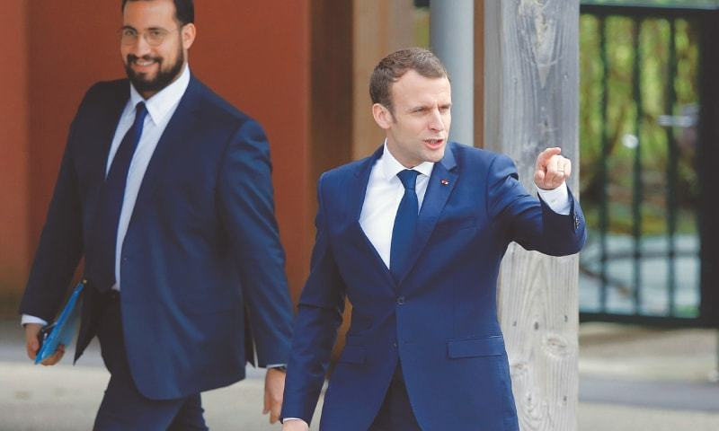 Alexandre Benalla  Macron s bodyguard at the heart of a scandal     FRENCH President Emmanuel Macron  right  with Chief Security Officer Alexandre  Benalla