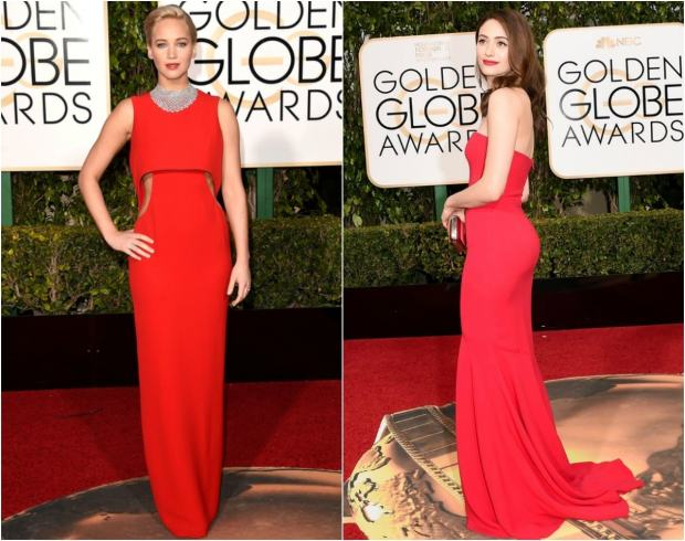 From L-R: J-Law and Emmy Rossum both wore red gowns, paired with some enviable bling.