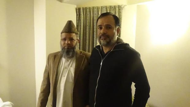 Activist Khurram Zaki standing next to (late) Mufti Sarfaraz Naeemi - Source: Khurram Zaki's Facebook page