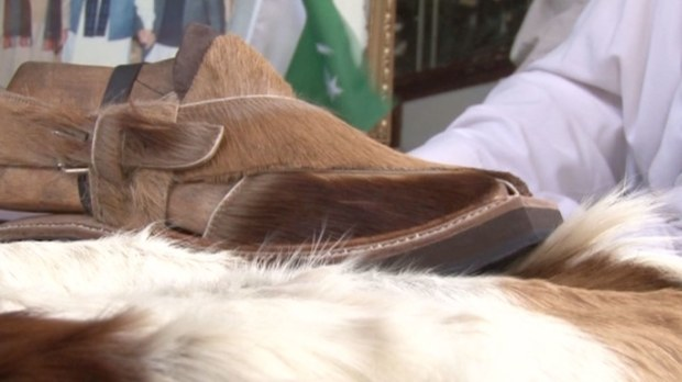 The deer skin chappal.