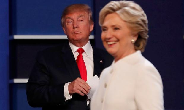 Donald Trump and Hillary Clinton finish their third and final 2016 presidential campaign debate at UNLV in Las Vegas, Nevada.— Reuters
