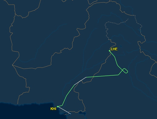 Map showing diversion of PK-898.— Courtesy: FlightAware