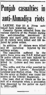 A news clipping on the Ahmadiyya riots in 1953. Photo - Dawn archives