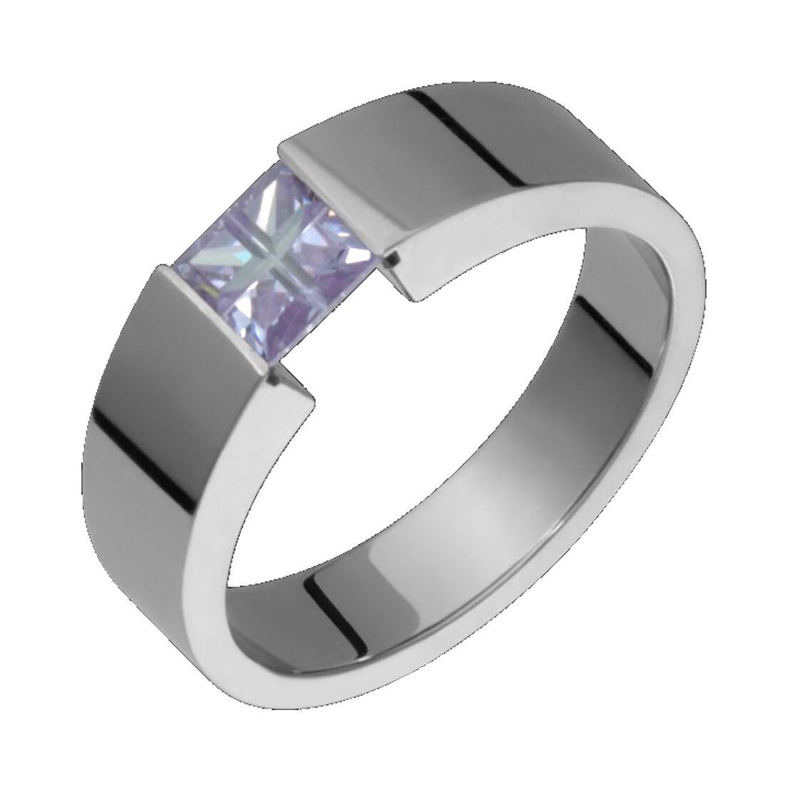 titanium wedding band Titanium Ring Purple Tension Set mm Wide Wedding Band Polished For Him N Her
