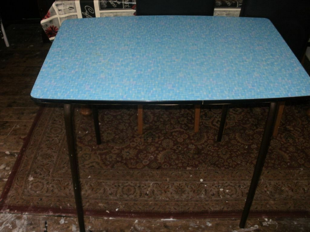 s kitchen table Vintage s Blue Formica Dining Diner Kitchen Table With Metal Legs Retro Liverpool