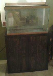 Details about 30 gallon fish tank with wood stand