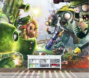 Plants Vs Zombies Wall Mural Wall Art Quality Pastable Wallpaper Decal | eBay