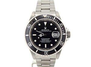 Rolex Submariner Stainless Steel Watch Black Dial & Bezel ...