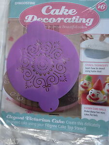DeAGOSTINI CAKE DECORATING MAGAZINE FILIGREE CAKE TOP STENCIL No 16     Image is loading DeAGOSTINI CAKE DECORATING MAGAZINE FILIGREE CAKE  TOP STENCIL