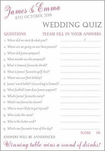 15 X FULLY PERSONALISED Wedding / Bride & Groom Quiz Cards ...