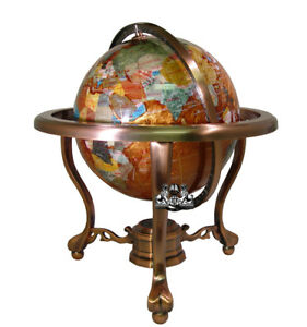 13  Tall Amber Pearl Copper Stand Gem Gemstone World Map Globe     Image is loading 13 034 Tall Amber Pearl Copper Stand Gem
