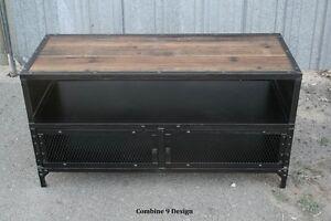 Image Is Loading VintageIndustrialTVStandReclaimedWoodMidCentury Rustic Industrial Tv Stand N24