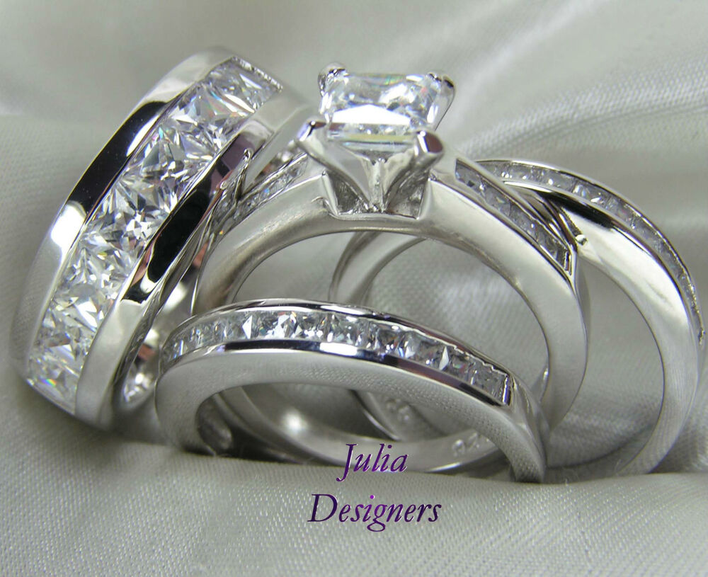Julia Designers Jewelry ebay wedding rings sets His Hers Engagement Wedding Band Ring Set Sterling Silver Mens Womens Sz 4 13