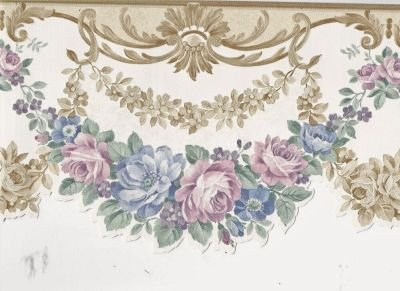 Victorian Satin Floral Wreath Gold Scroll - ONLY $9 - Wallpaper Border A239 | eBay