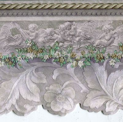 Victorian Cherubs & Scrolls Grey Gold Mauve - ONLY $6 - Wallpaper Border 971 | eBay
