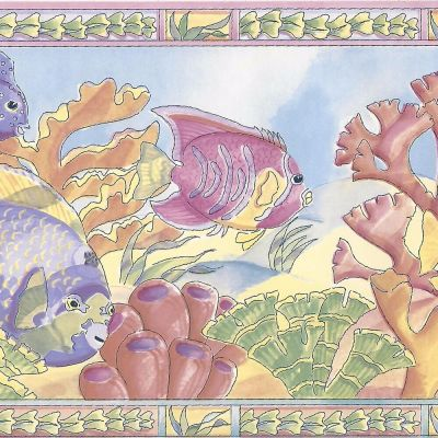 Tropical Fish & Coral - Pink Yellow Purple - ONLY $9 - Wallpaper Border A146 | eBay