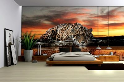 LARGE WALLPAPER PHOTO MURAL for bedroom living room DECOR JAGUAR CAT ANIMAL | eBay