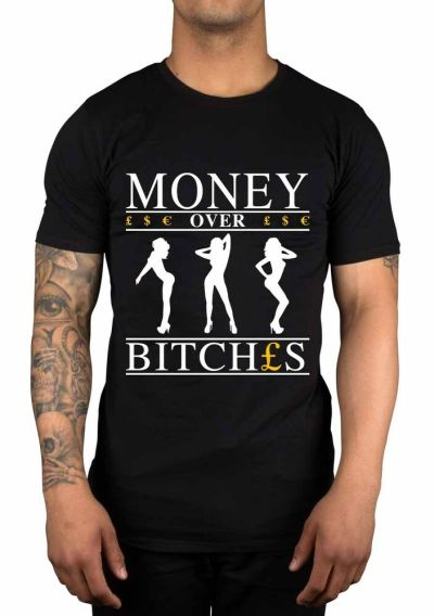 Money Over Bitches Graphic T-Shirt Swag Retro Tumblr Novelty Funny Gift | eBay