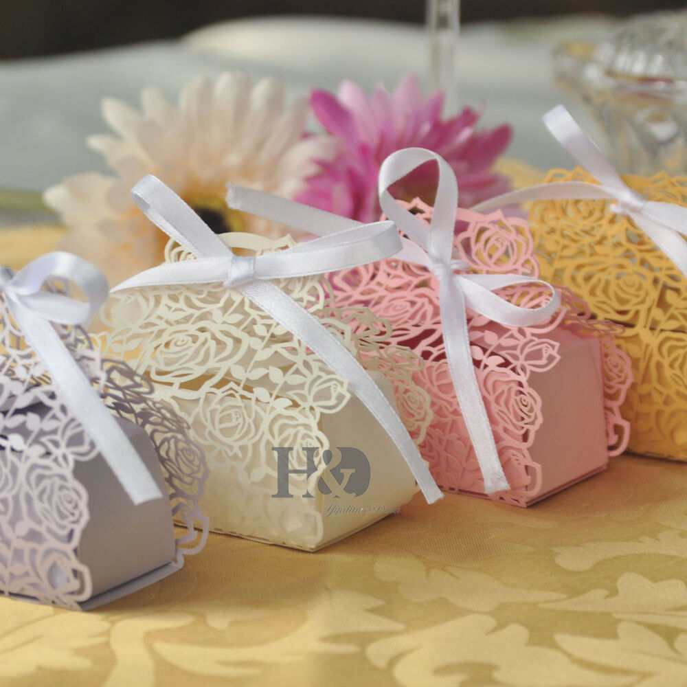 wedding favor boxes Wholesale Rose Candy Boxes Wedding Favor Party Gift Boxes With White Ribbons eBay