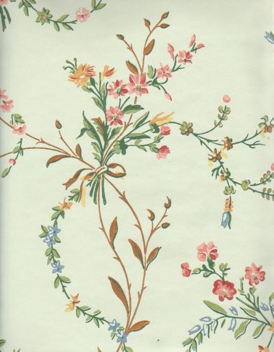 Historic Reproduction Wallpaper French Floral c1850 | eBay