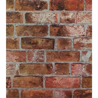Puffy Textured Red and Brown Brick With Grey Grout Wallpaper HE1046 | eBay