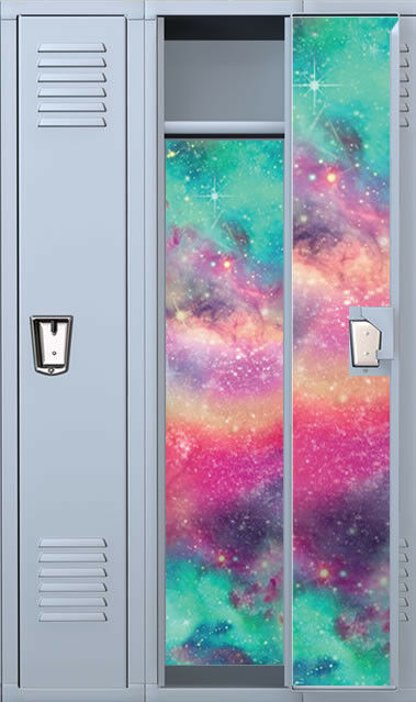 Colored Galaxy Full Length Vinyl Magnetic School Locker Wallpaper Set - Custom | eBay