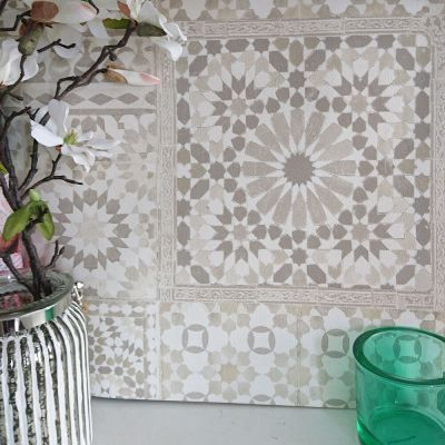 Marrakesh Reclaimed Mosaic Patterned Tile Effect Wallpaper in Beige & White | eBay