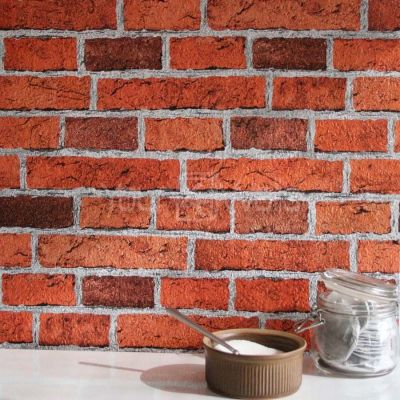 'Embossed' Realistic textured Brick Effect Wallpaper in Red Brick tones | eBay