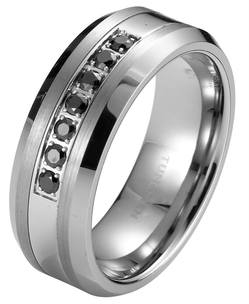 wedding rings and bands Black Diamond Tungsten Carbide Men s Wedding Ring Band 8mm classic engagement eBay