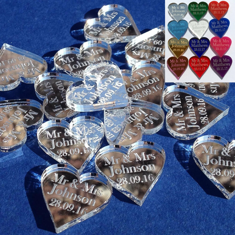 bn wedding supplies Personalised Love Hearts Wedding Favours Mr Mrs Table Confetti Decorations
