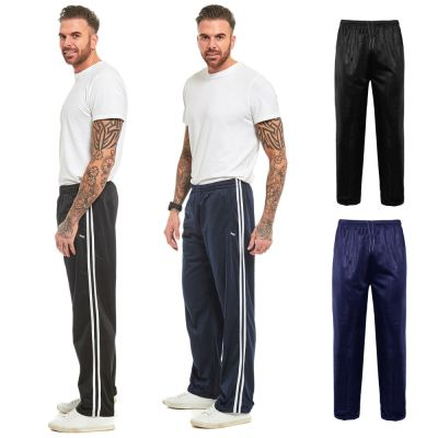 MENS TRACKSUIT BOTTOMS SILKY JOGGERS JOGGING STRIPED GYM ...