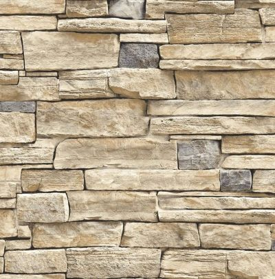 Wallpaper Faux Smooth Stacked Rock Stone Beige Tan Charcoal Cream Gray | eBay