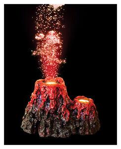 Volcano with LED Aquarium Bubbler Ornament Fish Tank Decoration