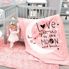 E LIMITED EDITION MOON AND STARS BABY GIRLS CRIB BEDDING SET 100 COTTON