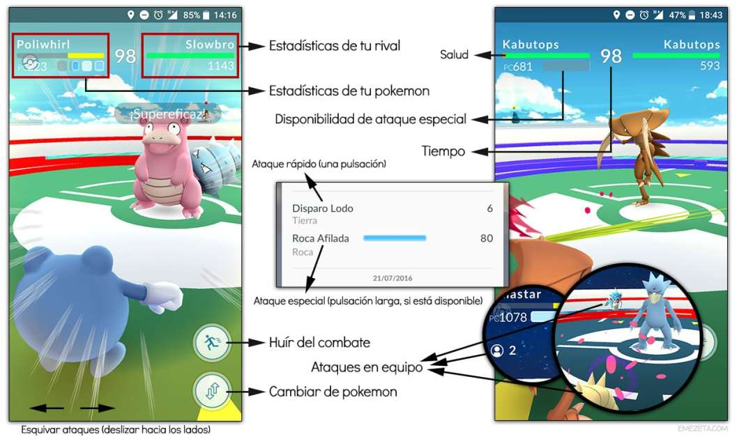Combate entre pokemon en Pokémon Go