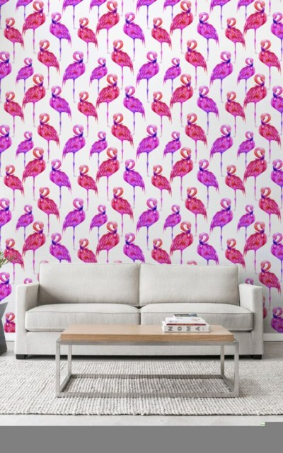 Pink Watercolor Flamingo Wallpaper Flamingo Peel & Stick | Etsy